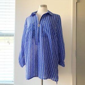 Michael Kors Blue Half Zipper Long Sleeve XL